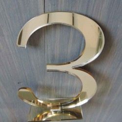 Mirror Gold table number with stand