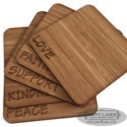 Set of 5 Bamboo Coasters