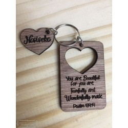 Rectangular keyring with heart