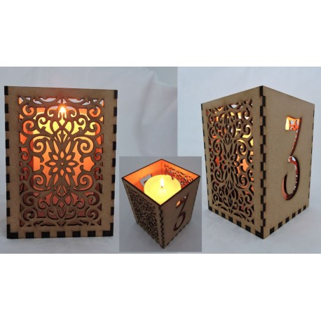 Illuminated candle lit table number